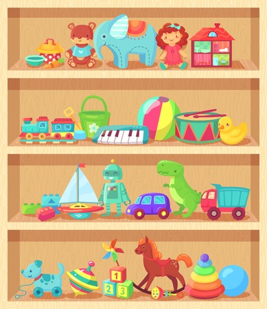 Cartoon toys on wood shelves. Funny animal baby piano constructor girl doll and ball robot plush bear colorful vintage elements for child joy. Kids toy shopping shelf vector group objects collection Vectores