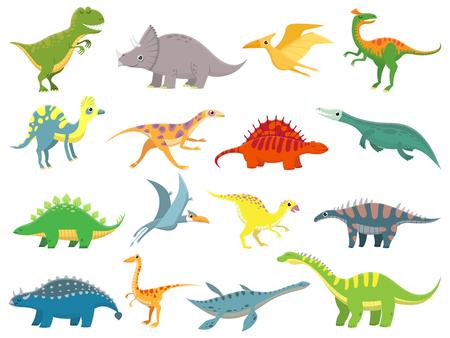 Cute baby dinosaur. Dinosaurs dragon and funny dino character. Fantasy cartoon colorful prehistoric happy dinosaurs wild animal tyrannosaurus rex stegosaurus figure vector illustration isolated set Illustration