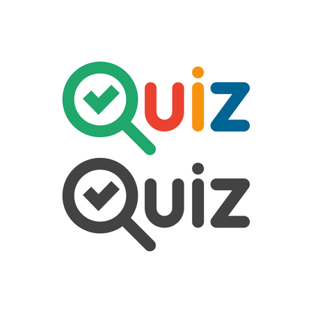 Quiz game show button logo. Quizzes and test competition icon with tick symbol for school exam ask questions and answers quest or interview. Vector word logotype concept