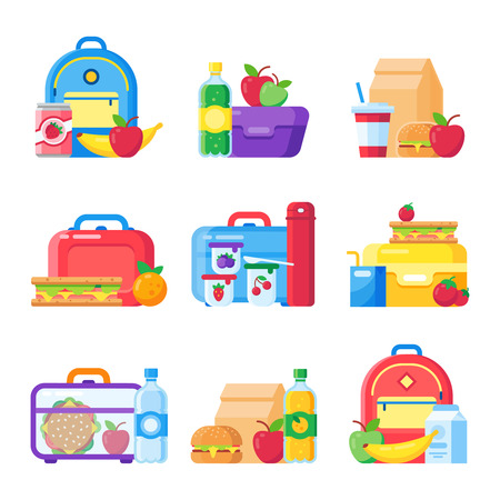Kids school lunch box. Schoolkid meal bag for dinner. Red apple, milk child hamburger fresh snack dinners meal in children food boxes and plastic sandwich bag flat icon colorful vector isolated set Illustration