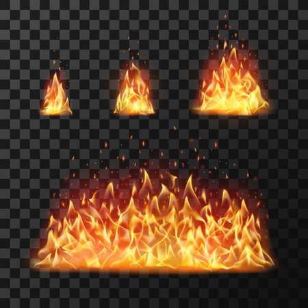 Burning fire flames or hot flaming blaze fireball. Blazing fires symbol or red cartoon forest campfire warm fireplace silhouette isolated vector icon flame realistic set