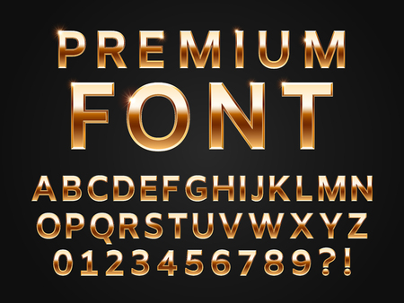 Glossy gold typeface, shine alphabet letters collection for 3D premium text design icon type. Golden gloss metal luxury vector sans shiny font set of realistic abc symbols and numbers for typography