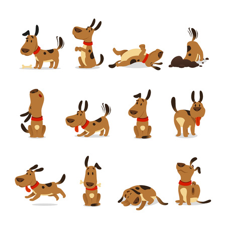 Cartoon dog set. Dogs tricks icons and action training digging dirt eating pet food jumping wiggle sleeping running and barking brown happy cute animal poses vector isolated symbol illustration