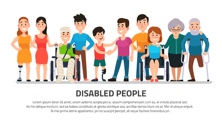Help disabled person. Happy disability people helping young student in wheelchair, friendly handicapped boy with group of friends diverse adults medical colorful cartoon vector illustration collection
