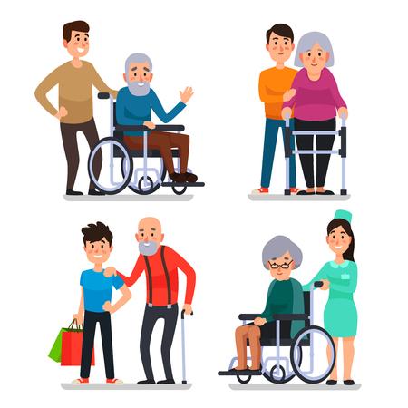 Help oude gehandicapten. Maatschappelijk werker van vrijwilligersgemeenschap helpt ouderen thuis en zieke karakter patiënten op rolstoel, verpleegkundige zorgzame senior met stok kleurrijke vector set pictogram Vector Illustratie