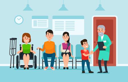 Sala de espera del doctor. Los pacientes esperan a los médicos y al asiento de ayuda médica en sillas en el hospital. El hombre y la mujer del paciente en la recepción del pasillo de la clínica de salud ocupada esperan la ilustración colorida del vector de la historieta del doctor