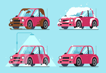Washing dirty car. Steps of cleaning cars from muddy dust and cartoon dirt covered wash dripping foam to clean and shiny red automobile vector illustration isolated flat sign set