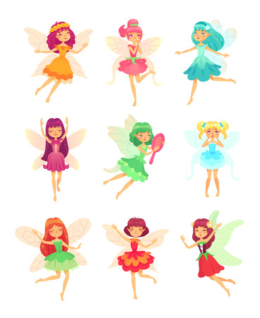 Cartoon fairy girls. Cute fairies dancing in colorful dresses. Magic flying little colorful tale pixie creatures characters in sparkly dress with wings, long dark hair fantasy vector isolated icon set