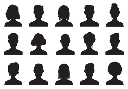 Profile icons silhouettes. Anonymous people face silhouette, woman and man head avatar profile icon anonym. Chat male or people black female male outline images vector isolated symbol set 免版税图像 - 115060473