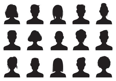 Silhouettes d'icônes de profil. Les personnes anonymes font face à la silhouette, l'icône de profil d'avatar de tête de femme et d'homme anonyme. Chat mâle ou personnes noir femelle mâle contour images vecteur ensemble de symboles isolés Vecteurs