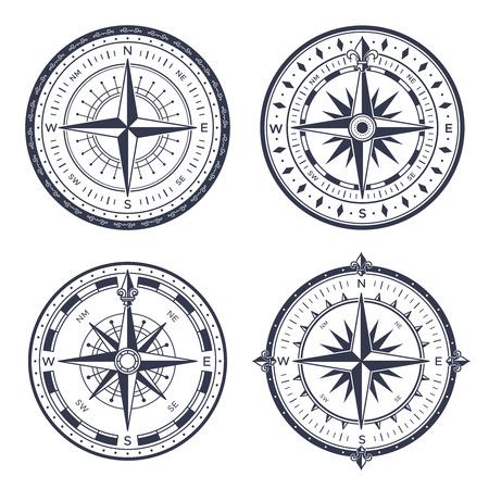 Brújula de mar vintage. Medida de orientación marítima náutica retro este y oeste, norte y sur flechas equipo. Navegación navegando viejas brújulas con rosa de viento aislado conjunto de iconos vectoriales Ilustración de vector