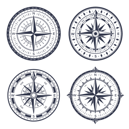 Vintage sea compass. Retro east and west, north and south arrows equipment nautical maritime orientation measure. Navigation sailing old compasses with rose of wind isolated vector icon set