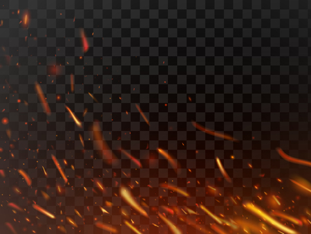 Close-up hot fiery sparkles and flame particles isolated spark. Inferno red yellow hell grill burning fire sparks and grill abstract flaming flakes wood logs light power energy dark vector background Ilustrace