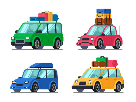 Travel cars. Car with tourism gear and baggage for family travels. Hybrid passenger speed vehicle cars flat colorful vector illustration isolated symbol set