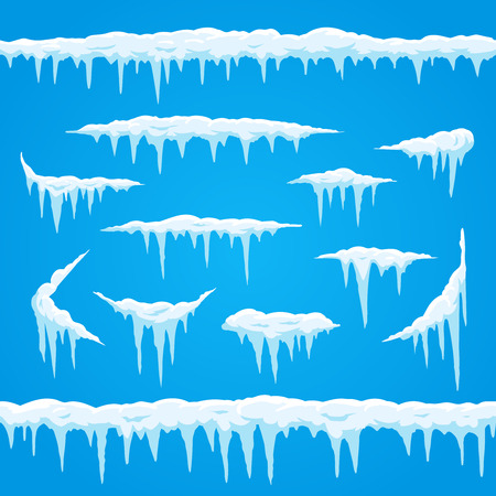 Cartoon icicles ice cap. Winter frosted snow frame for snowfall icy blue and white sign. Top of snowcap, frost snowed frames borders cold season vector isolated icon set