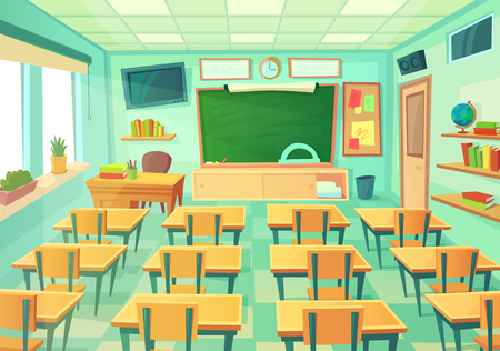 Empty cartoon classroom. School exam room with elementary class chalkboard and blackboard desks lesson college supplies students. Modern mathematical classrooms table interior vector illustration Vetores