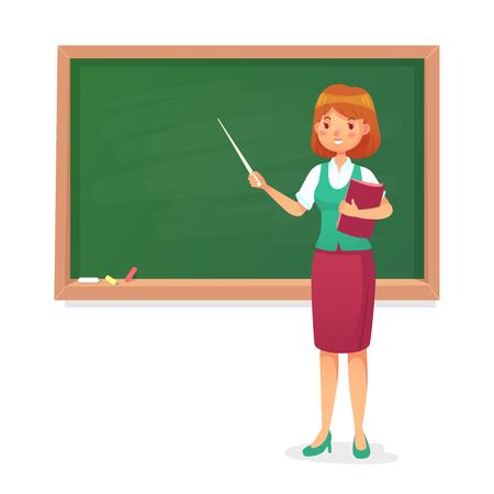 Pizarra y profesor. Profesora enseña en la pizarra. Carácter de los maestros de las lecciones de la mujer joven en la junta escolar que enseña a las personas en el aula de la lección Ilustración de vector de dibujos animados coloridos aislados