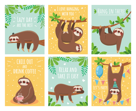 Greeting card with lazy sloth. Cartoon cute sloths cards with motivation for party sleepy pajama child t-shirt and congratulation birthday text. Slumber branch fun animals colorful illustration set Vettoriali