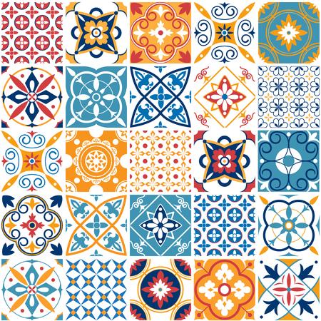 Portugal de patrones sin fisuras. Azulejos de cerámica mediterránea vintage textura retro formas simétricas azulejo patrón de mosaico. Patrones de azulejos geométricos y texturas de diseño abstracto de impresión de pared conjunto de vectores Ilustración de vector