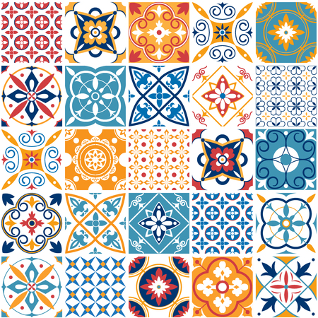 Portugal seamless pattern. Vintage mediterranean ceramic tile texture retro symmetrical shapes azulejo pattern tiling. Geometric tiles patterns and wall print abstract design textures vector set Illusztráció