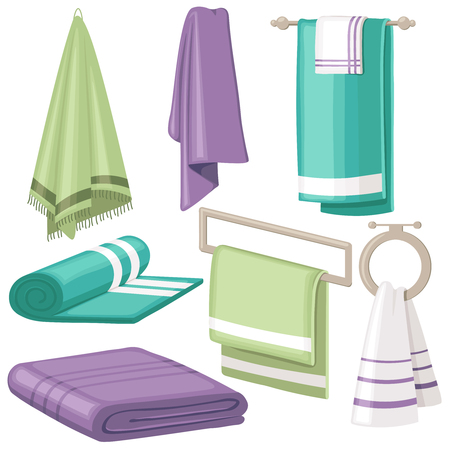 Cartoon bath towel. Cloth towels hanging in bathroom for home hygiene soft body cotton beach hotel spa isolated vector colorful symbols collection