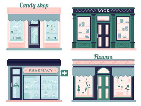 Modern stores set. Candy shop facade and urban book retail store. Local retail pharmacy and flowers boutique urban shopping retro street market building. Outdoor storefront vector isolated icon set