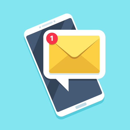 Flat email notification on smartphone. Sms icon or mail message reminder mailing on mobile phone or electronic newsletter documents cellphone vector symbol illustration