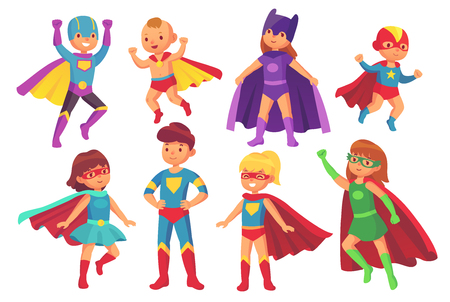 Cartoon superhero kids characters. Joyful kid wearing super hero costume with mask comic glasses and cloak for brave recreation. Children superheroes cute flying costumes colorful isolated vector set