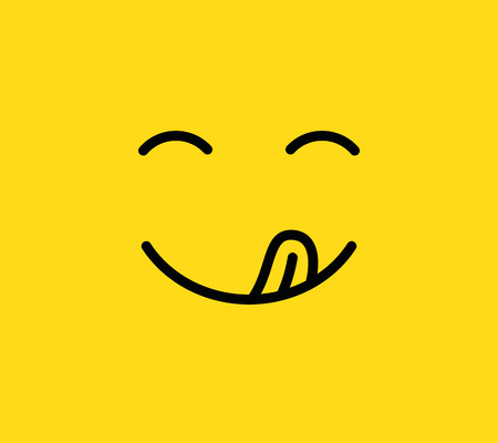 Buon sorriso. Delizioso, gustoso emoji mangiare faccia mangiare con la bocca e la lingua gourmet gustando il gusto. Divertente affamato gustoso degustazione cibo umore logo linea gialla icona isolata di vettore Logo