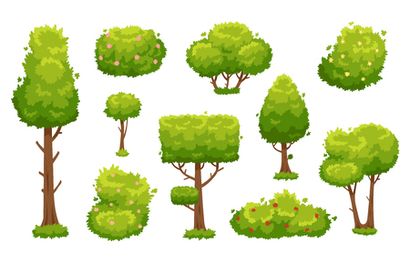 Cartoon trees and bushes. Green plants with flowers for vegetation spring backyard landscape wood plant foliage. Nature forest lumber tree park and garden hedge bush vector isolated icon set