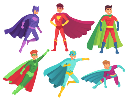 Superhero man characters. Cartoon muscular hero character in colorful super costume with waving cloak pose action toy figure brave handsome man. Flying superheroes power ranger vector isolated set Illustration