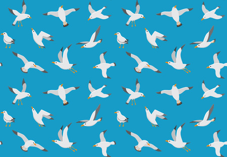 Seagulls seamless pattern. Cartoon gull flying over sea. Marine cute fly ocean freedom bird textile fabric or funny wallpaper decor design background vector endless texture Çizim
