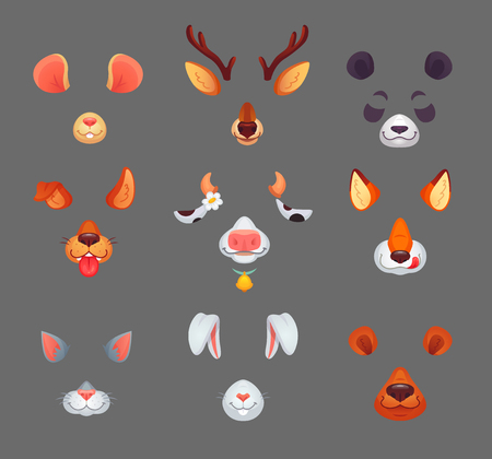 Animals for phone app. Funny animal filter masks with cartoon funny ears and noses selfie or avatar anonymous puppy kitty deer rabbit cat dog ear photo mask video effect. Vector isolated icon set  イラスト・ベクター素材