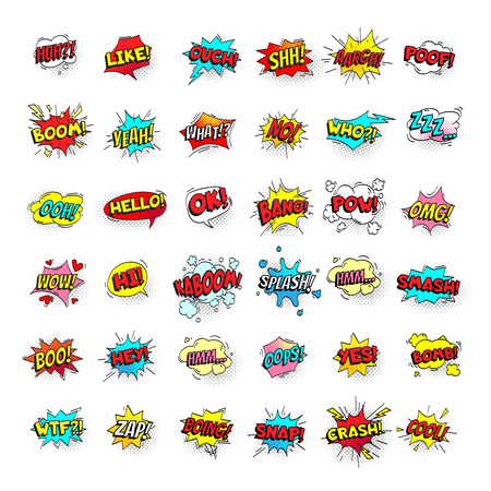 Comic bubbles. Cartoon text balloons. Pow and zap, smash wtf oops wow omg yeah poof boo and kaboom smash bang boom comics expressions. Speech bubble retro vector pop art stickers isolated sign set Illustration