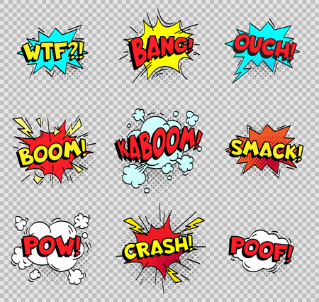 Comic speech bubbles. Cartoon explosions text balloons. Wtf bang ouch boom smack pow crash poof popping color burst comics expression retro vector shapes isolated sign collection