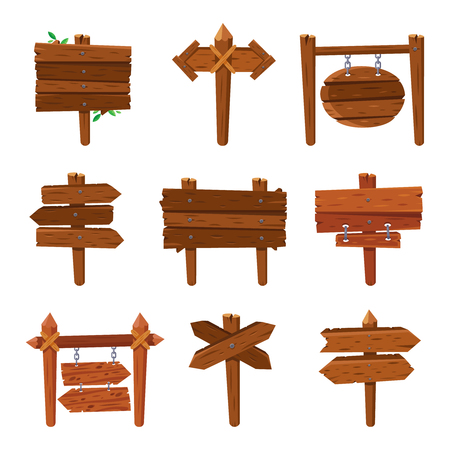 Cartoon wooden arrows. Vintage wood old sign boards and billboard arrow signs frame nail plank. Isolated direction guidepost signpost advice brown board plywood vector icon set