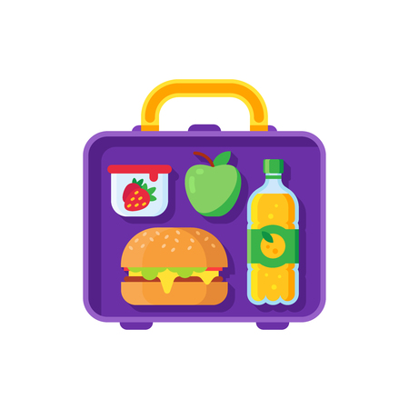 School lunch in open lunchbox. Healthy dinner in food box kids break time. Schoolkid meal healthy food bag with hamburger sandwich, apple orange juice and snacks container cartoon vector illustration