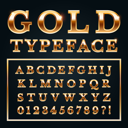 Golden letters with gold shine metal gradients. Shiny alphabet letter rich text and type numbers serif font for luxury lettering typography fashion rush magazine 3d realistic vector illustration sign