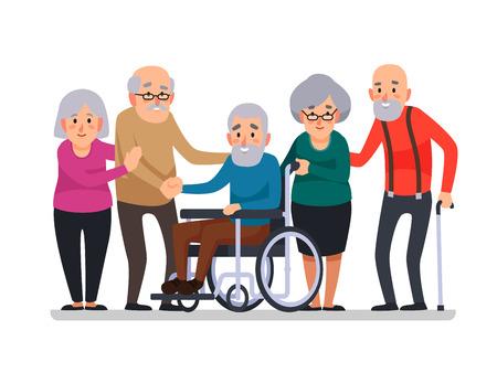Anziani del fumetto. Cittadini invecchiati felici, anziani disabili su sedia a rotelle più anziani e anziani di cura sorridenti coppia di anziani cittadini anziani felici con un bastone, illustrazione vettoriale di cartoni animati della famiglia di disabilità