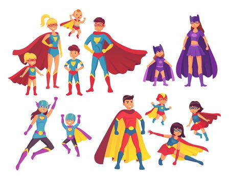 Postacie z rodziny superbohaterów. Postać superbohaterów w kostiumach z sylwetką peleryny bohatera do komiksów. Zastanawiam się, mama, super tata i dzieci chłopiec dziewczyna bohaterowie w masce i płaszczu na białym tle wektor zestaw ikon