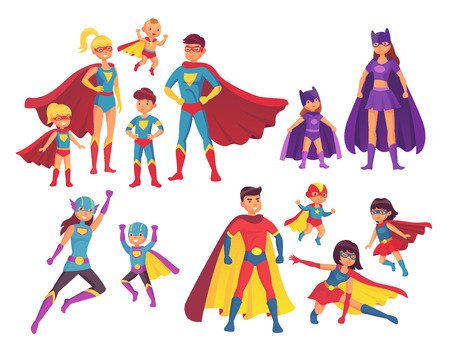 Superhero family characters. Superheroes character in costumes with hero cape silhouette for comics. Wonder mom, super dad and children boy girl kid heroes in mask and cloak isolated vector icon set