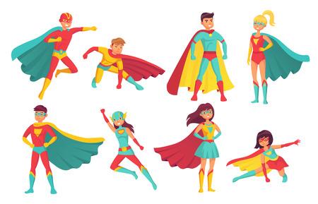 Postaci z kreskówek superbohaterów. Samice i samce latających superbohaterów pozują z supermocami w pelerynie. Odważna ludzka moc muskularny przystojny superman i superwoman bohater komiks na białym tle wektor zestaw ikon