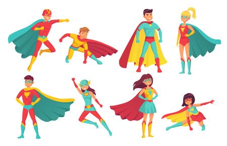 Cartoon superhero characters. Female and male flying superheroes pose with superpowers in mantle cape. Brave human power muscular handsome superman and superwoman comic hero isolated vector icon set