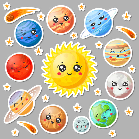 Cartoon cute planets stickers. Happy planet face, smiling earth and sun in universe space. Astronomy solar system sticker planetary uranus mercury jupiter neptune vector isolated symbol collection Vettoriali