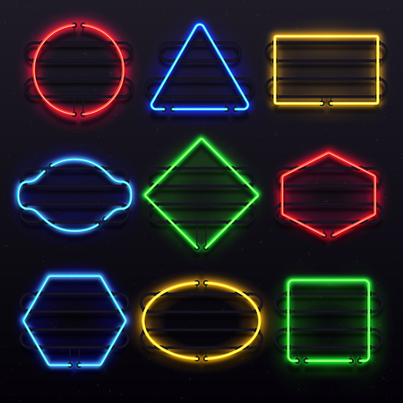 Realistic glowing neon frames. Vivid electric light lamp frame on rack sign holder. Lights electricity of colorful tubes for disco party bar or nightclub retro 3D vector isolated icon set