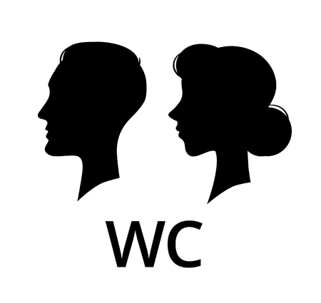 WC toilet sign. Male and female face profile public washroom door lavatory. Ladies and gents restroom or woman and man bathroom concept sanitary icon vector pictogram