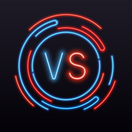 Neon versus. VS symbol into round sign glint. Confrontation fight battle boxing mma championship game challenge competition match duel laser vector icon banner emblem