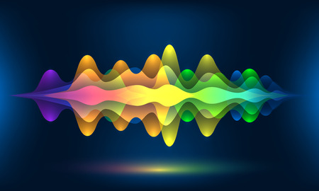 Colorful voice waves or motion sound frequency rhythm radio dj amplitude. Abstract soundtrack wave energy background or digital music beat tracking technology color visualization vector illustration