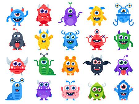 Nette Cartoon-Monster. Comic Halloween freudige Monsterfiguren. Lustiges Teufelsgesicht, hässliches albernes Alien und gruseliges Humorlächeln kleine bunte flache isolierte Symbolvektorsatz der wütenden Kreatur Standard-Bild