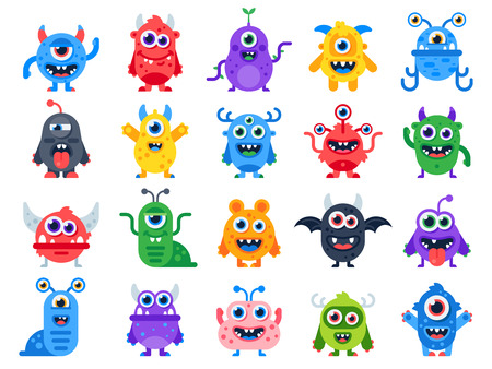 Cute cartoon monsters. Comic halloween joyful monster characters. Funny devil face, ugly silly alien and scary humor smile little furious creature character colorful flat isolated icon vector set